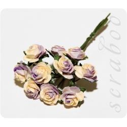 Букет бежево-фиолетовых роз, 10 мм, 10 шт