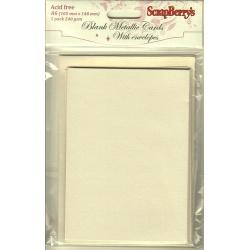 Заготовки для открыток, 5 шт, белый металлик